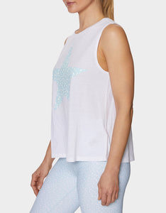 DOTTED STAR MUSCLE SWING TANK WHITE