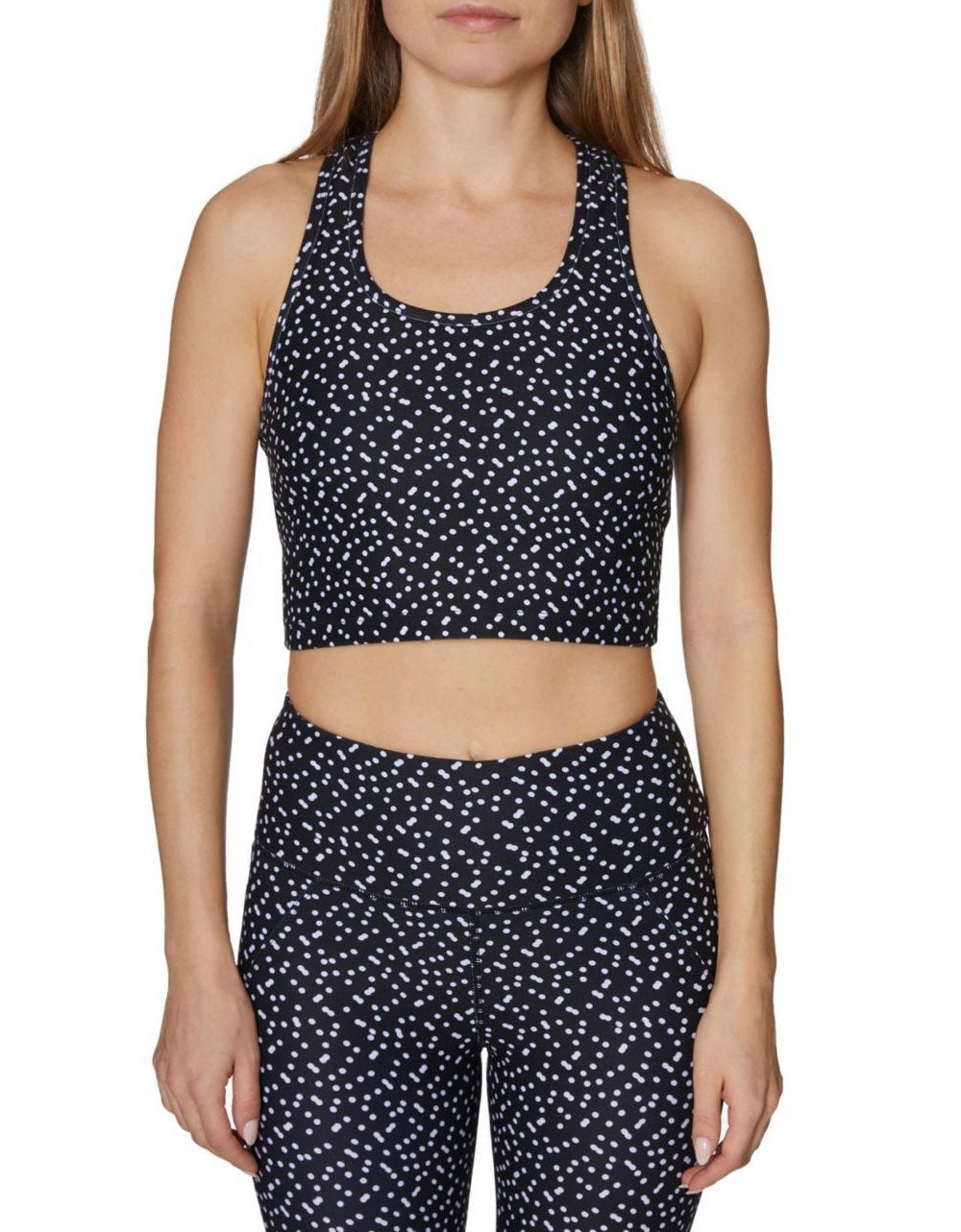 DOUBLE POLKA DOTS LONG LINE BRA BLACK-WHITE - APPAREL - Betsey Johnson