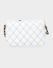 DOUBLE TROUBLE QUILTED CROSSBODY BLACK-WHITE - HANDBAGS - Betsey Johnson