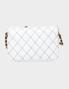 DOUBLE TROUBLE QUILTED CROSSBODY BLACK-WHITE