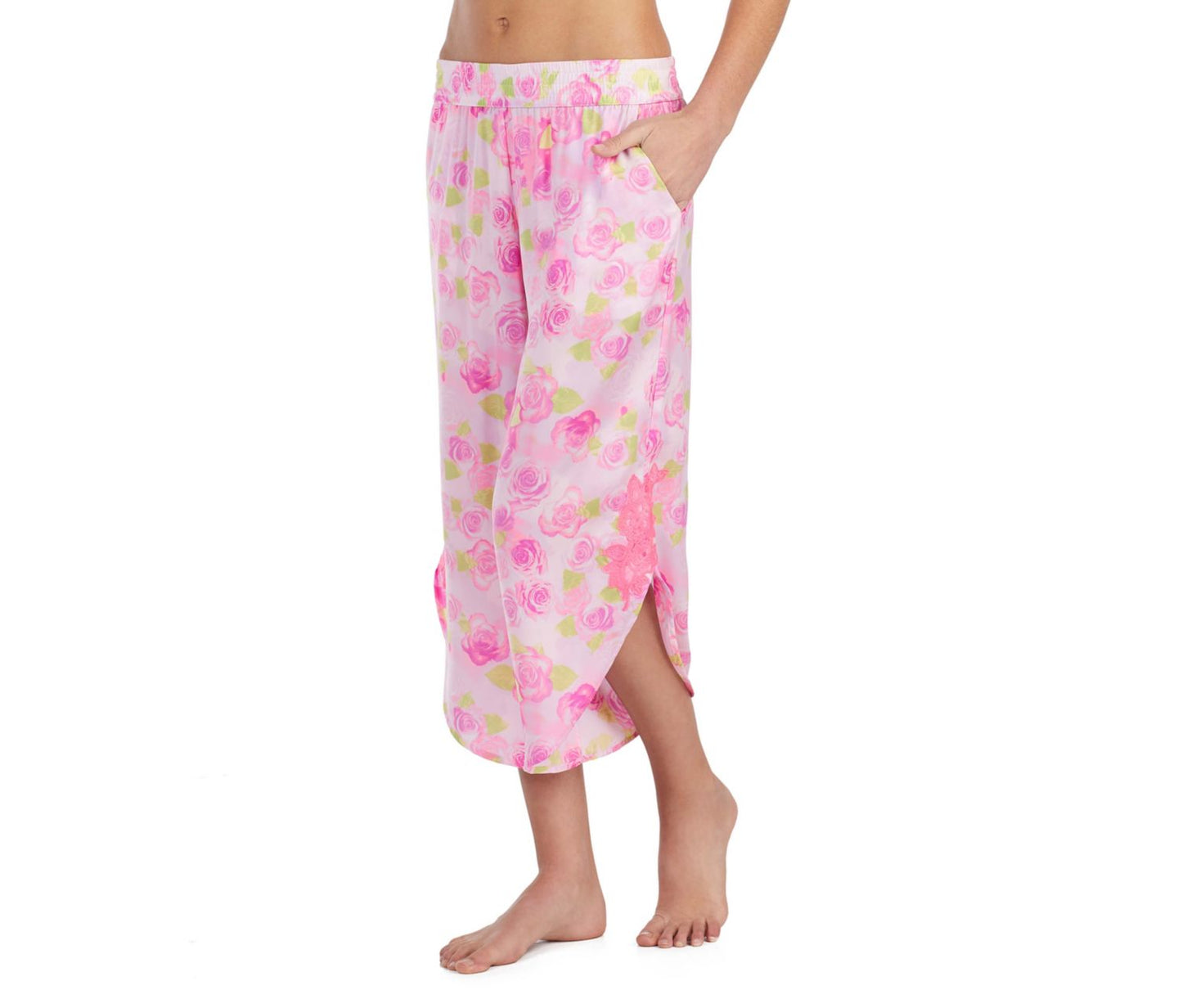 DREAMY ROSES WASHED SATIN PANT ROSE - APPAREL - Betsey Johnson