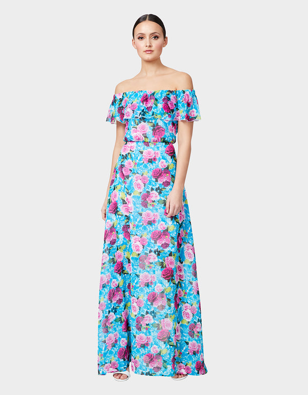 DROWNING ROSES MAXI DRESS BLUE MULTI - APPAREL - Betsey Johnson