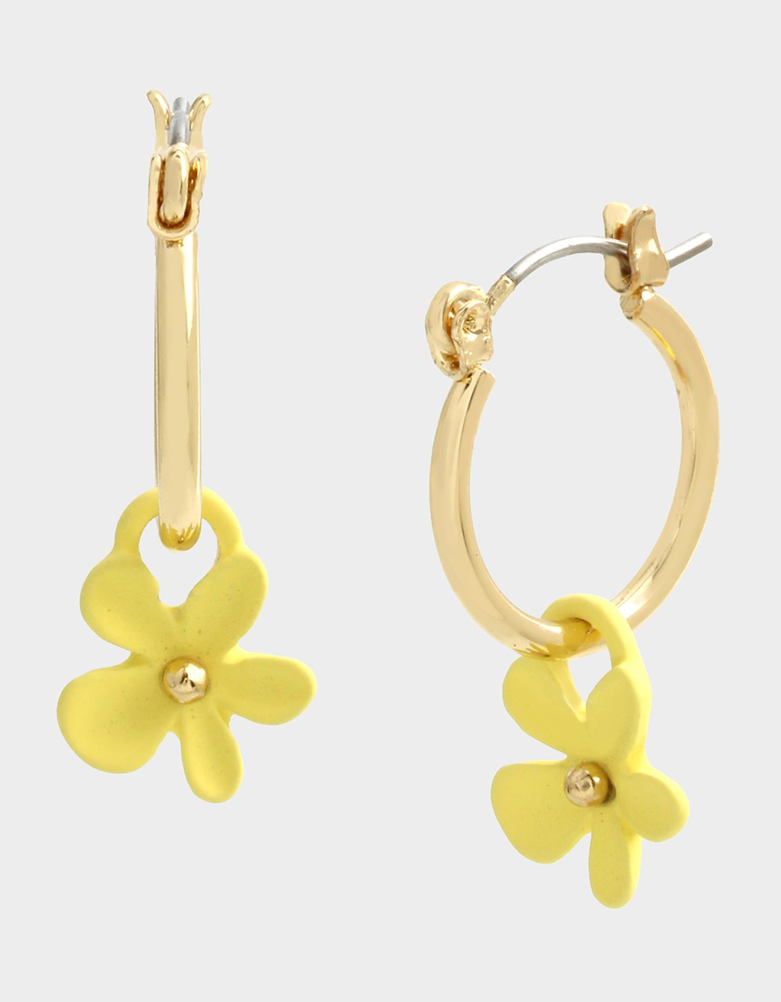 EXOTIC FLORAL DROP HOOPS YELLOW