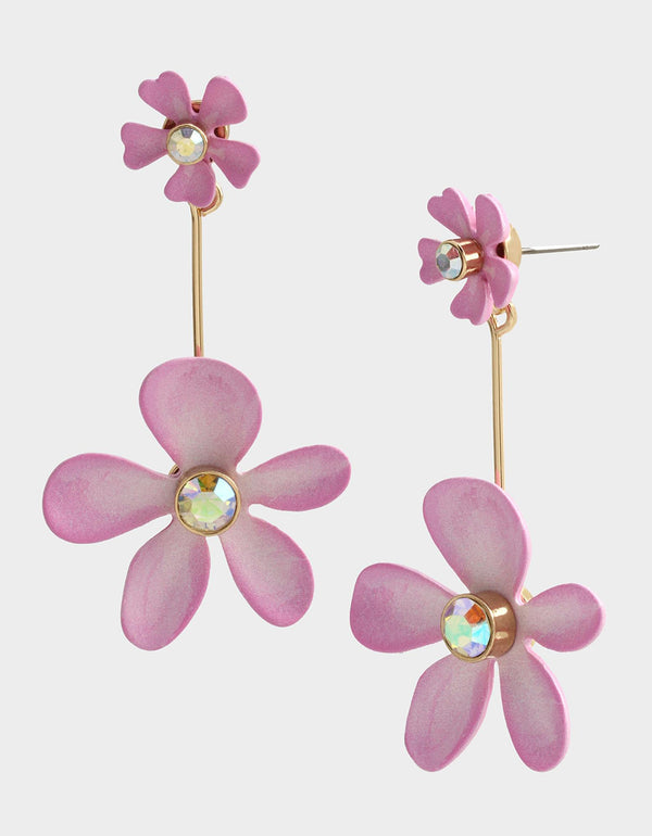EXOTIC FLORAL FLOWER FRONT BACK EARRINGS PINK - JEWELRY - Betsey Johnson
