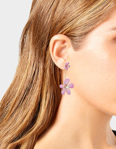 EXOTIC FLORAL FLOWER FRONT BACK EARRINGS PINK