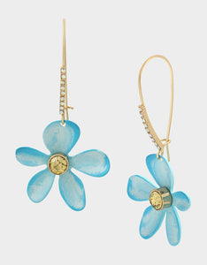 EXOTIC FLORAL HOOK FLOWER EARRINGS BLUE
