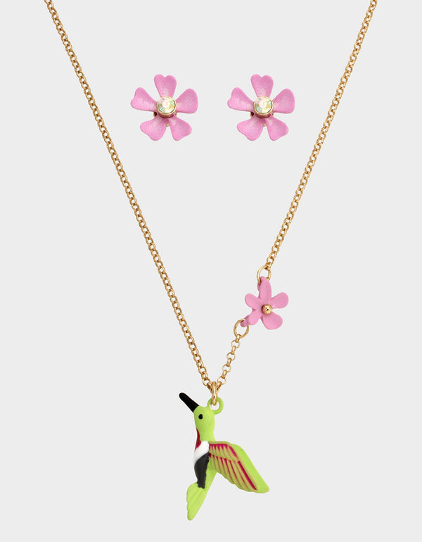 EXOTIC FLORAL HUMMINGBIRD SET PINK - JEWELRY - Betsey Johnson
