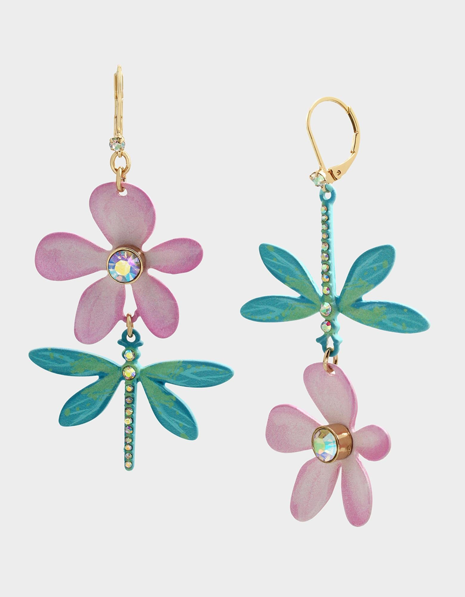 EXOTIC FLORAL MISMATCH EARRINGS MULTI