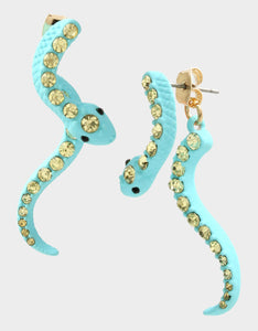 EXOTIC FLORAL SNAKE FRONT BACK EARRINGS BLUE