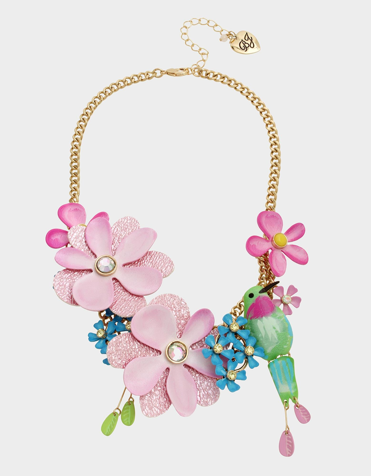 EXOTIC FLORAL STATEMENT NECKLACE MULTI