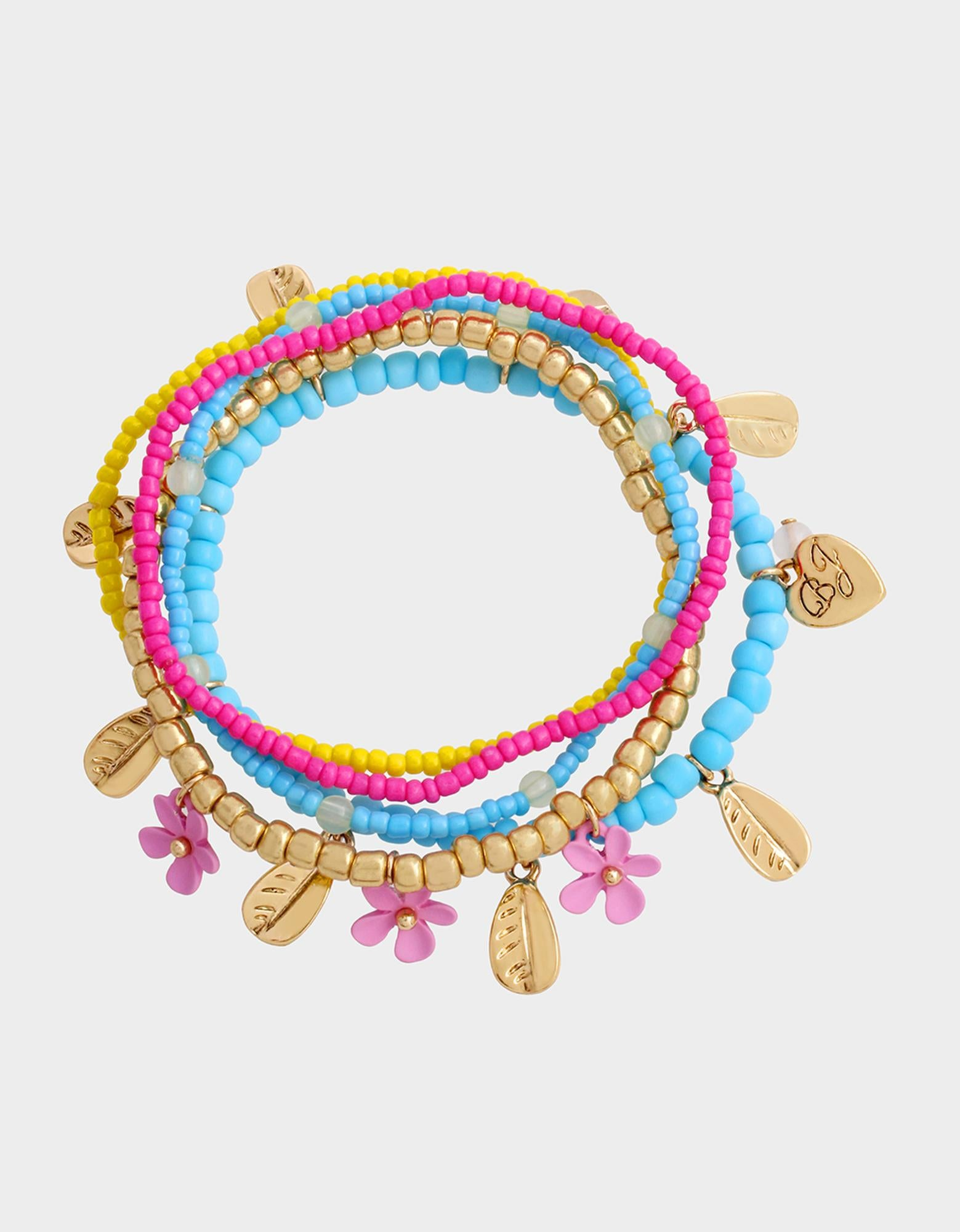 EXOTIC FLORAL STRETCH BRACELET SET MULTI