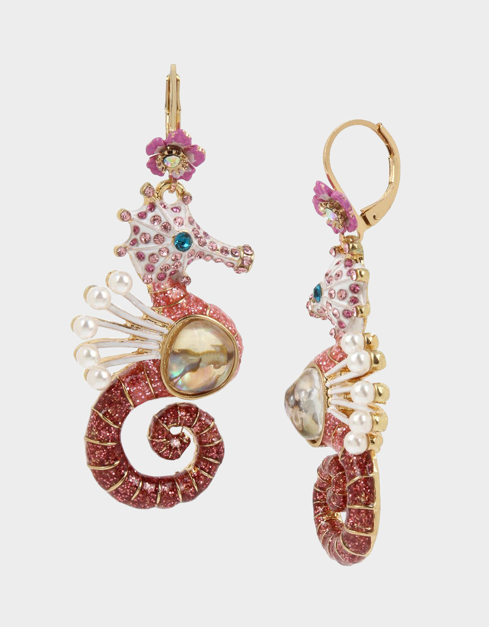 FESTIVAL MERMAID SEAHORSE DROP EARRINGS PINK - JEWELRY - Betsey Johnson