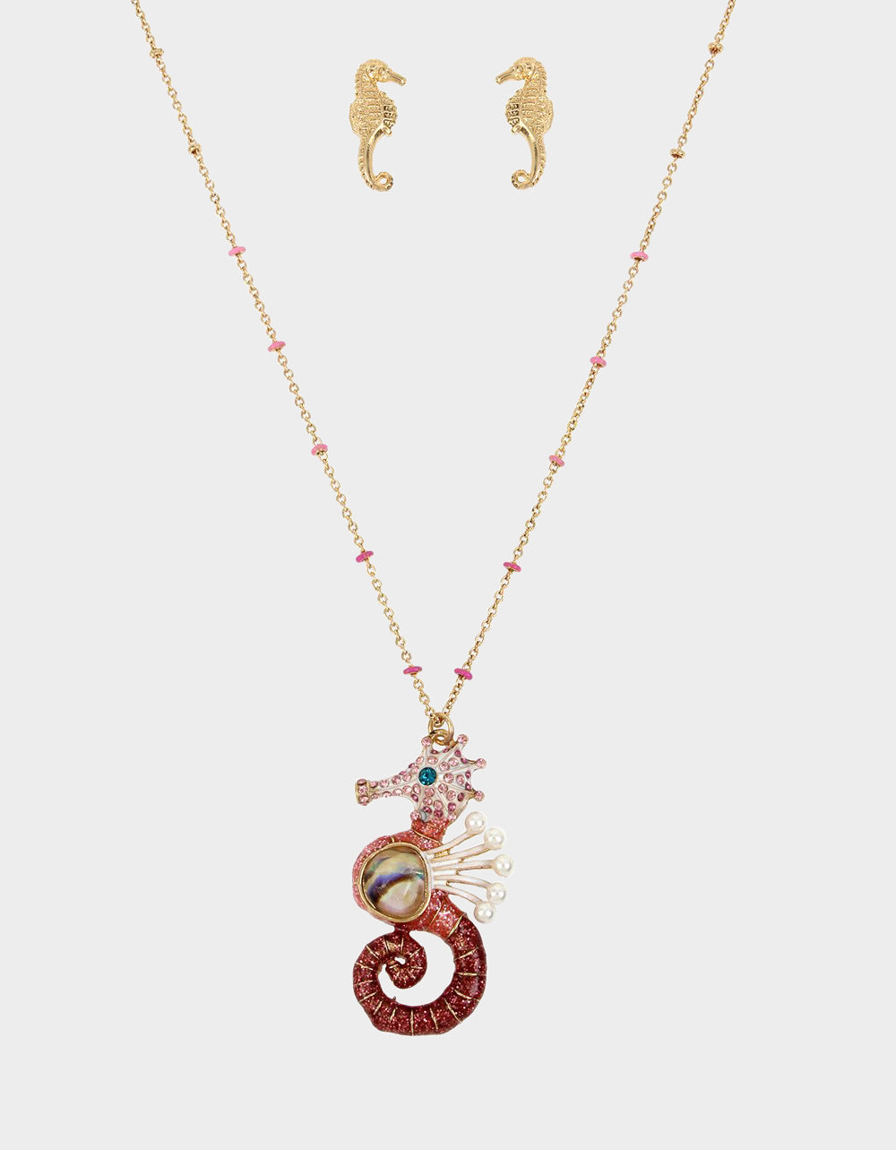 FESTIVAL MERMAID SEAHORSE SET PINK - JEWELRY - Betsey Johnson