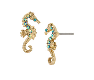 FESTIVAL MERMAID SEAHORSE STUD EARRINGS BLUE