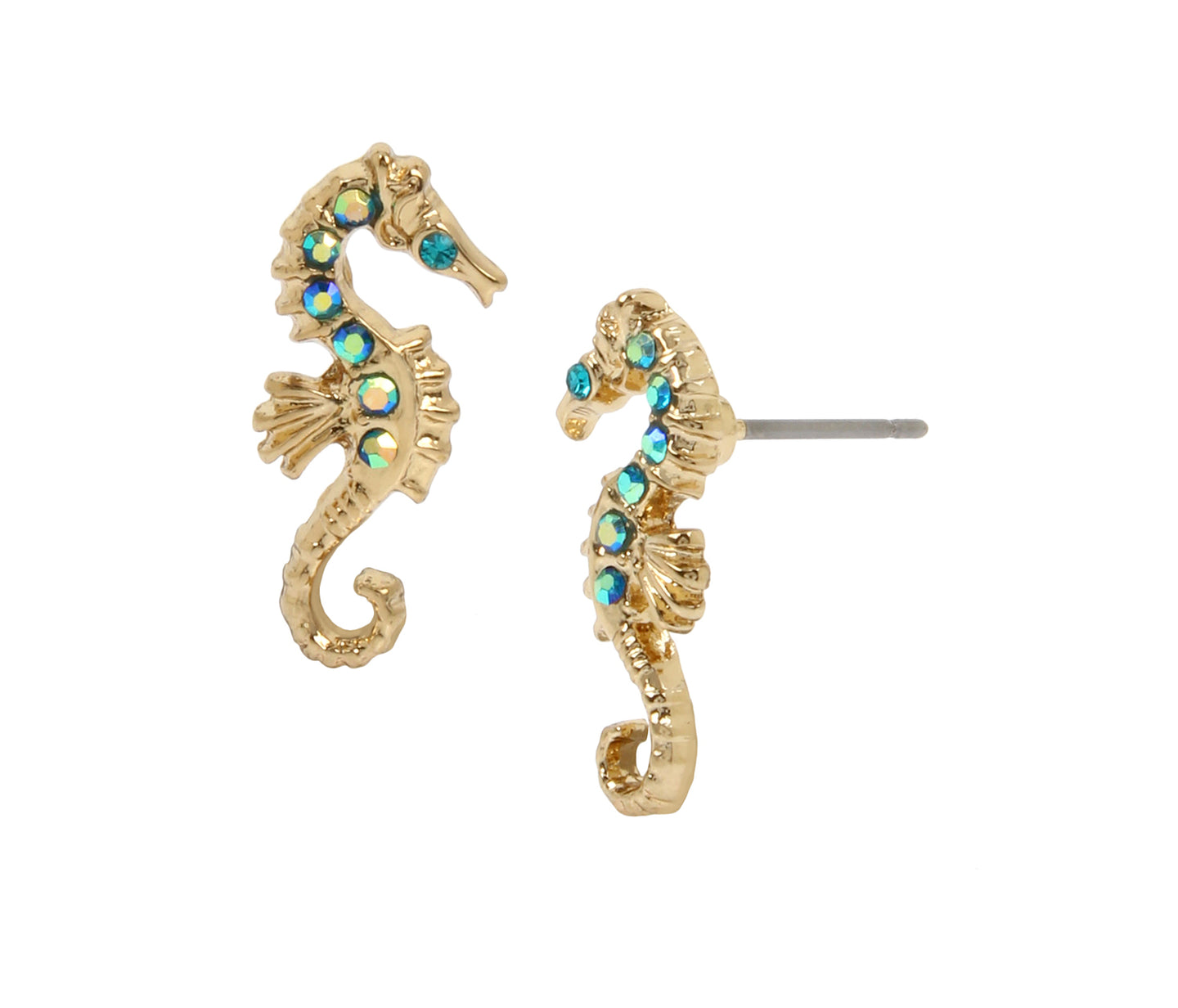 FESTIVAL MERMAID SEAHORSE STUD EARRINGS BLUE - JEWELRY - Betsey Johnson