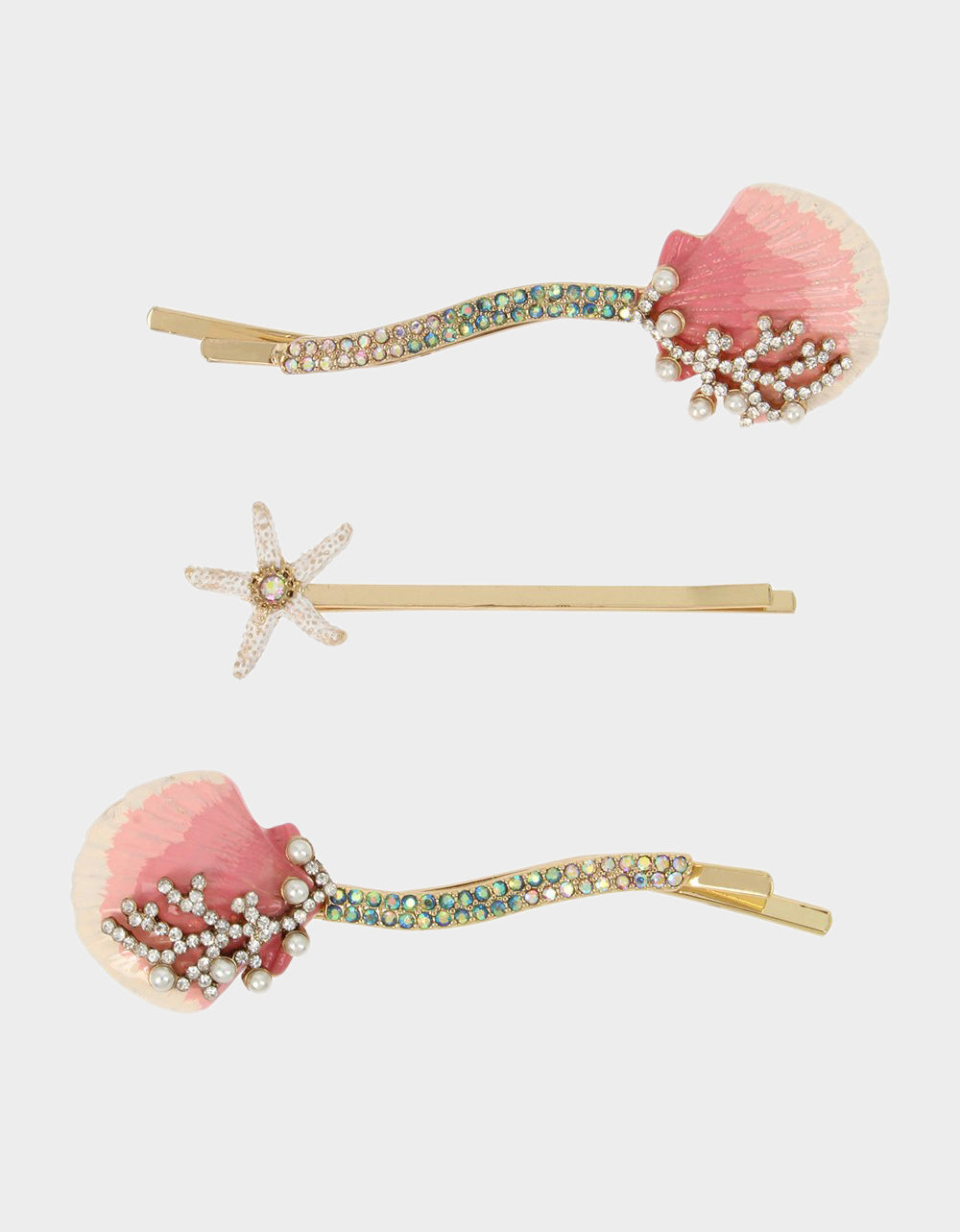 FESTIVAL MERMAID SHELL HAIR CLIPS PINK - ACCESSORIES - Betsey Johnson