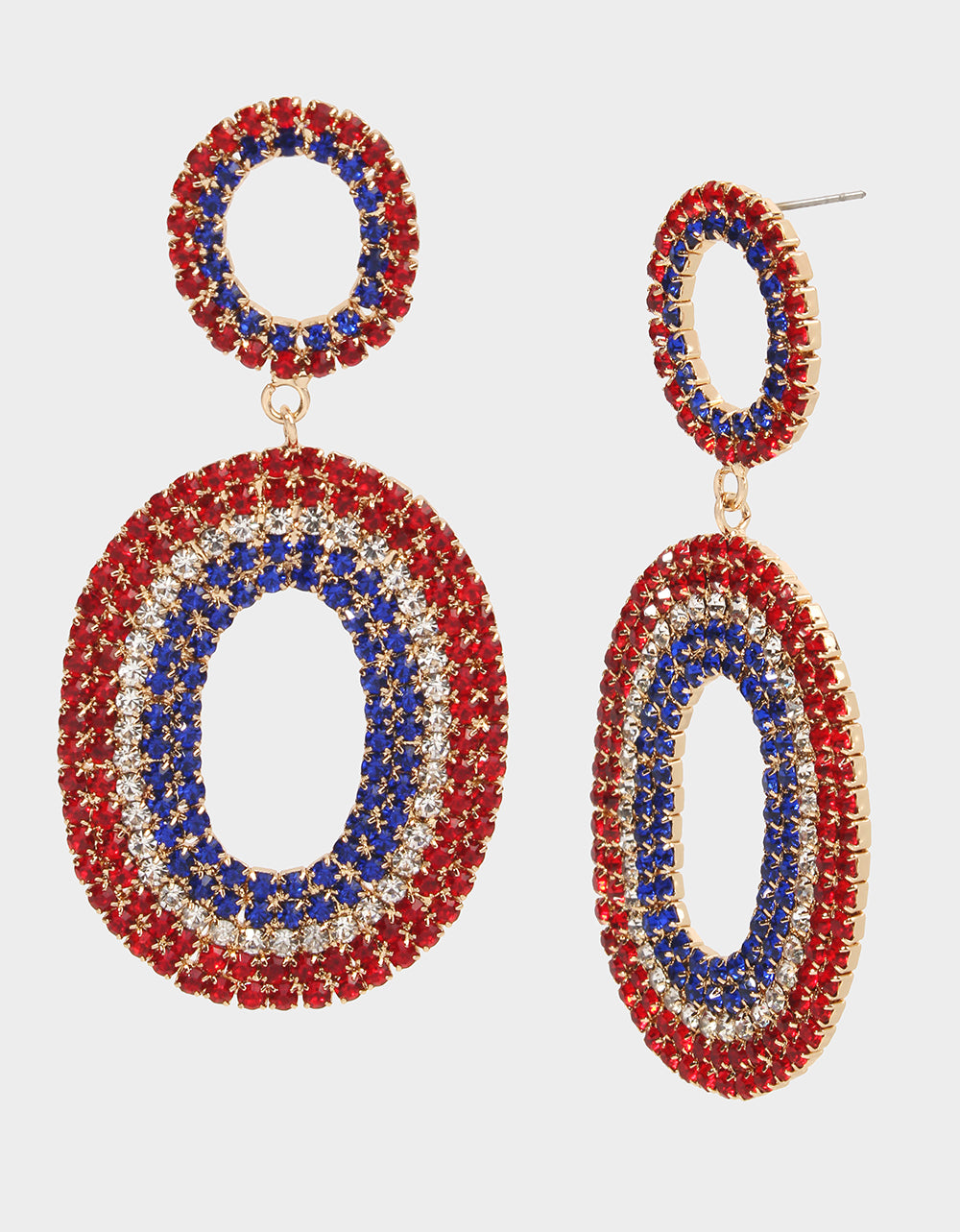 FIREWORK FUN DOUBLE OVAL EARRINGS RED-WHITE-BLUE - JEWELRY - Betsey Johnson