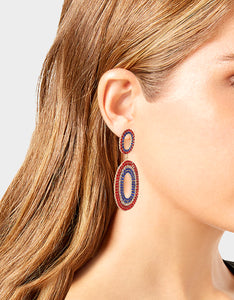 FIREWORK FUN DOUBLE OVAL EARRINGS RED-WHITE-BLUE