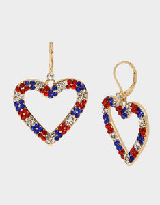 FIREWORK FUN HEART DROP EARRINGS RED-WHITE-BLUE
