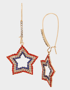 FIREWORK FUN STAR HOOK EARRINGS RED-WHITE-BLUE