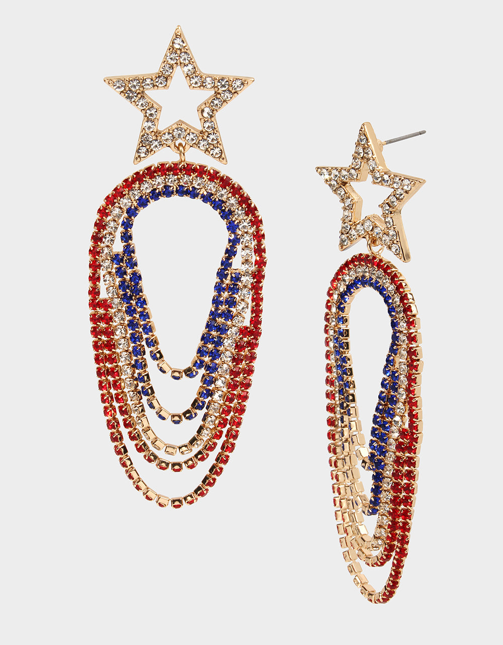 FIREWORK FUN STAR SWAG EARRINGS RED-WHITE-BLUE - JEWELRY - Betsey Johnson