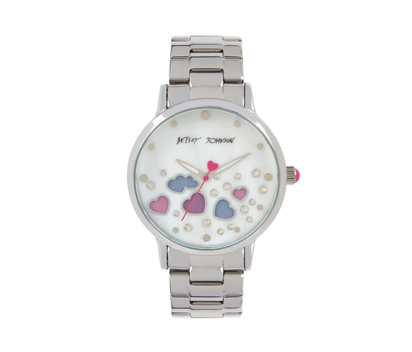 FLOATING AND CHANGING HEARTS WATCH SILVER - JEWELRY - Betsey Johnson