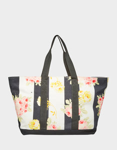 FLOATING AWAY FLORAL TOTE BLACK-WHITE