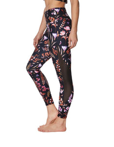 FLORAL PRINTED LEGGING WITH MESH INSERTS RUST MULTI