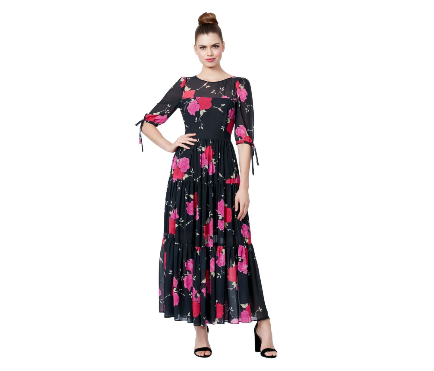 FLORAL TIERED MAXI DRESS BLACK-PINK - APPAREL - Betsey Johnson