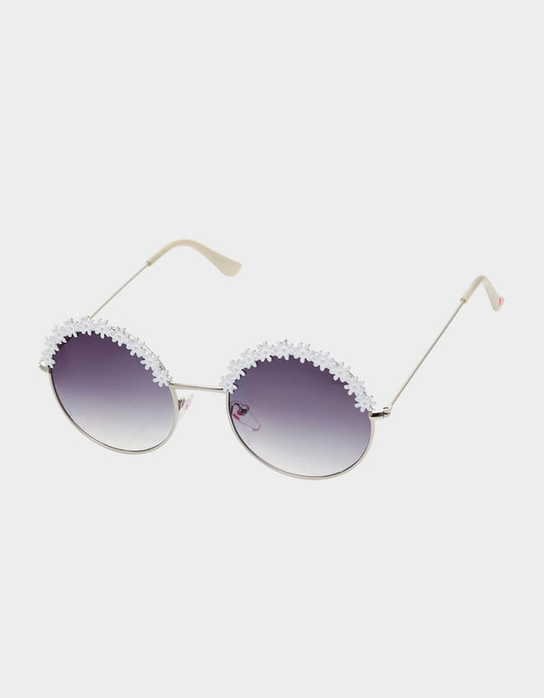 FLOWER CHILD SUNGLASSES WHITE - ACCESSORIES - Betsey Johnson