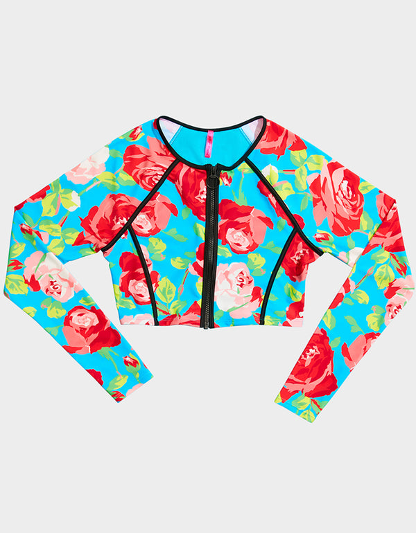 FRAMED FLOWERS RASHGUARD TOP BLUE MULTI - APPAREL - Betsey Johnson