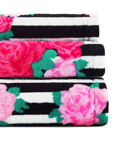FLOWER STRIPE THREE PIECE TOWEL SET PINK