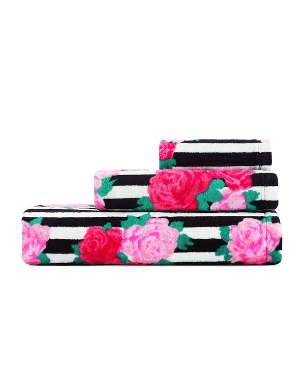 FLOWER STRIPE THREE PIECE TOWEL SET PINK - BEDDING - Betsey Johnson