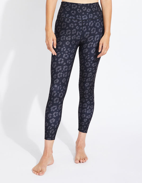 FOLDED WAIST CHEETAH LEGGING BLACK - APPAREL - Betsey Johnson