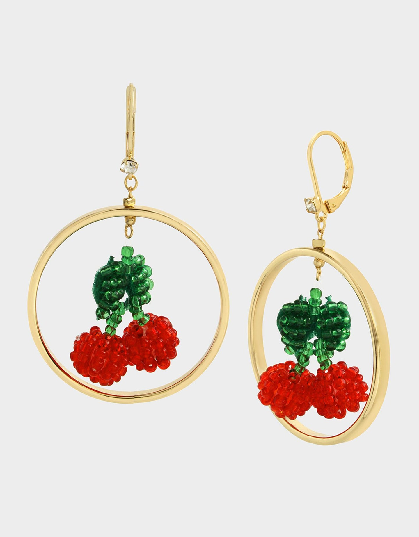 FORBIDDEN FRUIT CHERRY ORBITAL EARRINGS RED - JEWELRY - Betsey Johnson