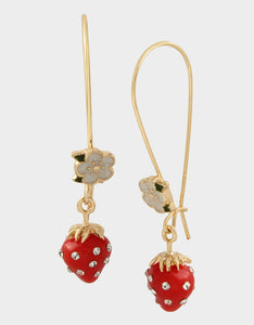 FORBIDDEN FRUIT STRAWBERRY HOOK EARRINGS RED