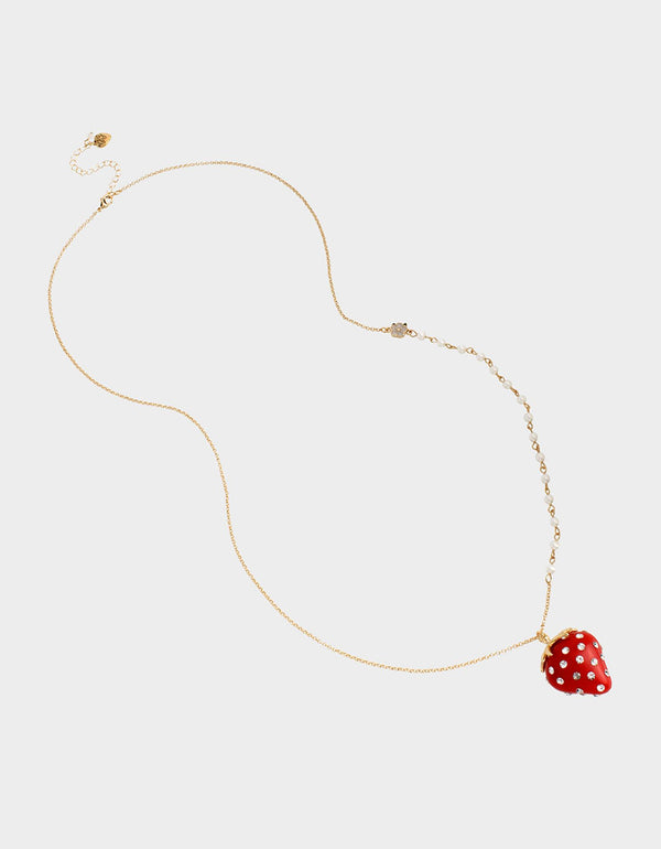 FORBIDDEN FRUIT STRAWBERRY PENDANT RED - JEWELRY - Betsey Johnson