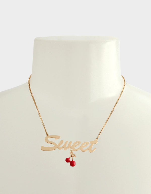 FORBIDDEN FRUIT SWEET PENDANT RED - JEWELRY - Betsey Johnson