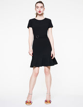 OPEN BACK HEART BELT DRESS BLACK - APPAREL - Betsey Johnson