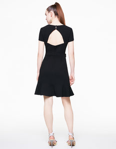 OPEN BACK HEART BELT DRESS BLACK