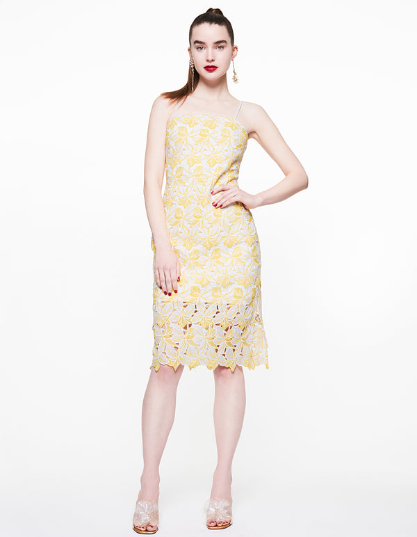 LEMON LACE DRESS YELLOW - APPAREL - Betsey Johnson