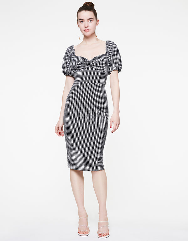 MINI DOTS KNIT MIDI DRESS BLACK-WHITE - APPAREL - Betsey Johnson