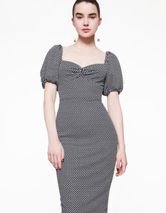 MINI DOTS KNIT MIDI DRESS BLACK-WHITE