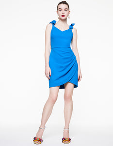 SWEETHEART TIE STRAP DRESS BLUE