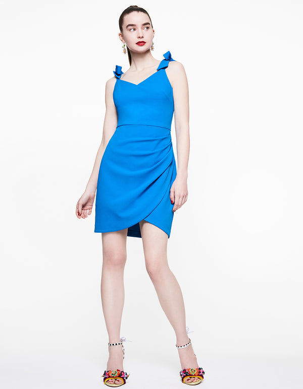 SWEETHEART TIE STRAP DRESS BLUE - APPAREL - Betsey Johnson