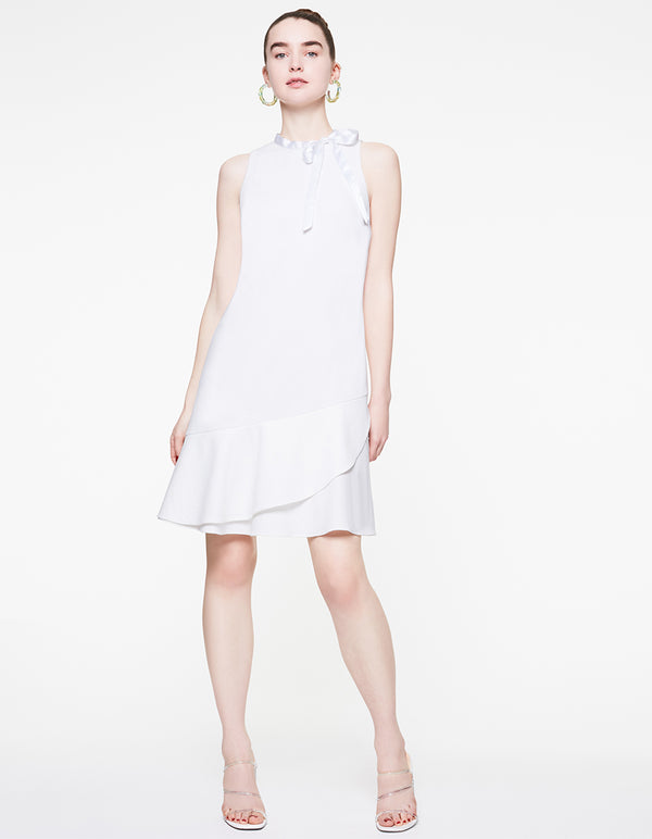 TIE NECK RUFFLE DRESS IVORY - APPAREL - Betsey Johnson