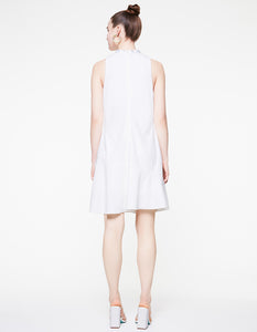 TIE NECK RUFFLE DRESS IVORY