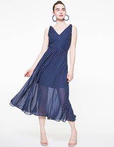 DOTTED TIE SLEEVE CHIFFON DRESS NAVY