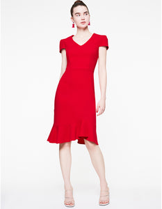 FLOUNCE SCUBE CREPE DRESS RED