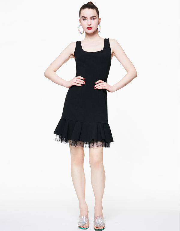 DOTTED MESH DETAILS DRESS BLACK - APPAREL - Betsey Johnson